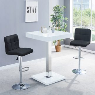 An Image of Topaz Glass Bar Table In White Gloss With 2 Coco Black Stools