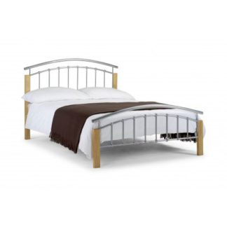An Image of Azzmy Metal Single Bed In Aluminium and Oak Finish