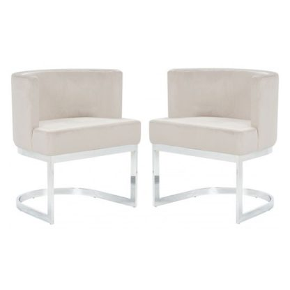 An Image of Lauro Beige Velvet Dining Chairs In Pair With Silver Legs