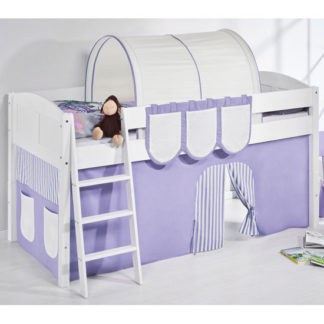 An Image of Hilla Children Bed In White With Purple Curtains