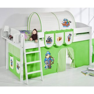 An Image of Lilla Children Bed In White With Pirate Green Curtains