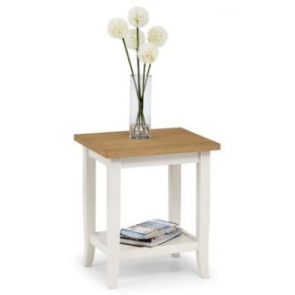 An Image of Cromley Wooden Lamp Table In Ivory Laquered With Oak Top