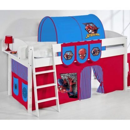 An Image of Lilla Children Bed In White With Spiderman Curtains