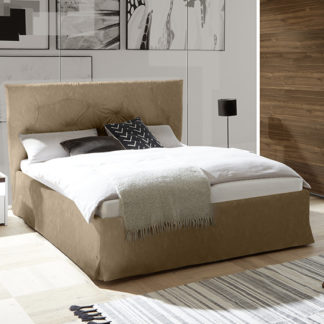 An Image of Civico Faux Leather Double Bed In Tobacco Effect