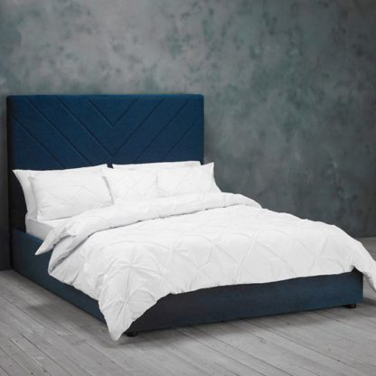 An Image of Islington Double Fabric Bed In Royal Blue