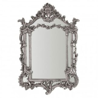 An Image of Scarlett Elegant Design Wall Bedroom Mirror In Silver Frame
