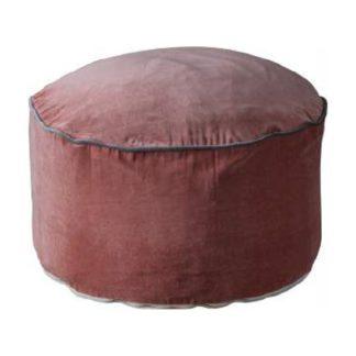 An Image of Arabella Velvet Upholstered Pouffe In Blush