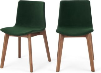 An Image of Set of 2 Perl Dining Chairs, Pine Green Velvet and Walnut