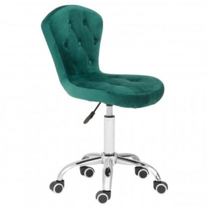 An Image of Detra Rolling Home And Office Velvet Chair In Green