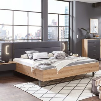 An Image of Shanghai Wooden Double Bed In Artisan Oak And Graphite