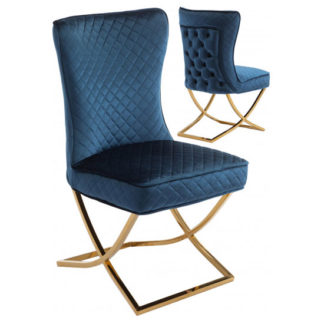 An Image of Lorenzo Blue Velvet Dining Chairs In Pair With Gold Legs