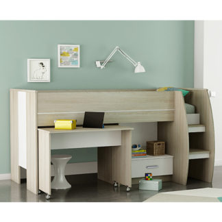 An Image of Swatch Bunk Bed With Desk In Shannon Oak And Pearl White