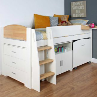 An Image of Urban Birch Childrens Midsleeper Bed with pull out Desk, Chest and Cupboard