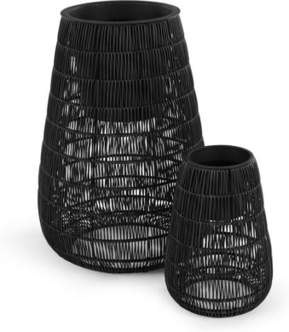 An Image of Nadda Set Of Two Tall Polyrattan Plant Stands, Black