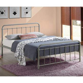 An Image of Miami Victorian Style Metal Double Bed In Pebble