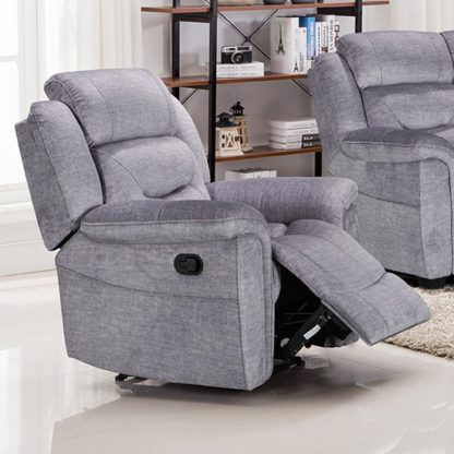An Image of Dudley Fabric Upholstered Recliner Chair In Nett Grey