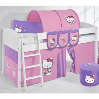 An Image of Hilla Children Bed In White With Kitty Purple Curtains