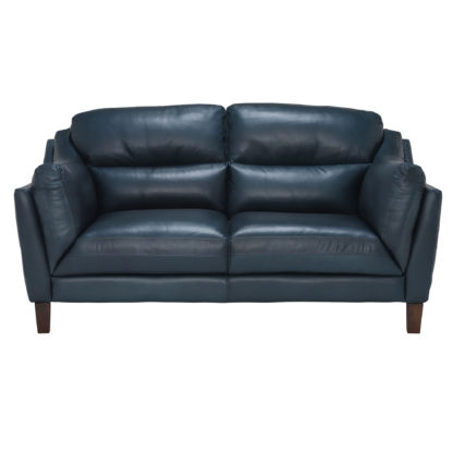 An Image of Luca Leather Love Seat, Indiana Teal
