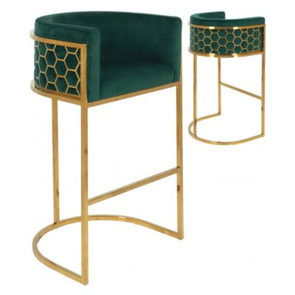 An Image of Meta Green Velvet Bar Stools In Pair With Gold Legs