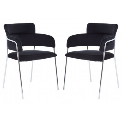 An Image of Tamzo Black Velvet Dining Chairs With Chrome Legs In Pair