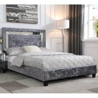 An Image of Valdina Double Bed In Crushed Velvet Silver With Mirror Edge Hea