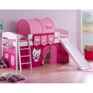 An Image of Lilla Slide Children Bed In White With Angel Cat Sugar Curtains