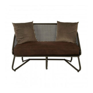 An Image of New Voundry 2 Seater Metal Sofa In Brown With Curved Legs