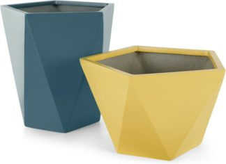 An Image of Baloo Set Of 2 Geometric Tall Fibreglass Planters, Yellow & Teal