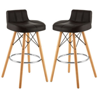 An Image of Porrima Black Faux Leather Effect Bar Stools In Pair