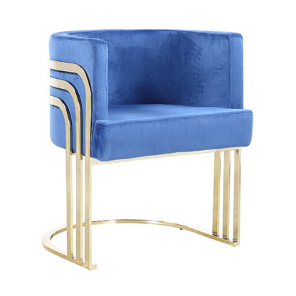 An Image of Lula Blue Velvet Dining Chair With Gold Stainless Steel Legs