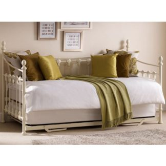 An Image of Versailles Metal Day Bed With Guest Bed In Stone White