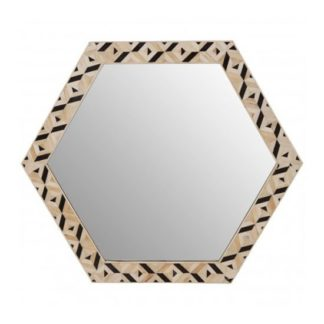 An Image of Harla Hexagonal Wall Bedroom Mirror In Black And Ivory Frame