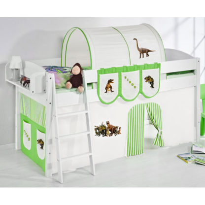 An Image of Lilla Children Bed In White With Dinosaur Green Curtains