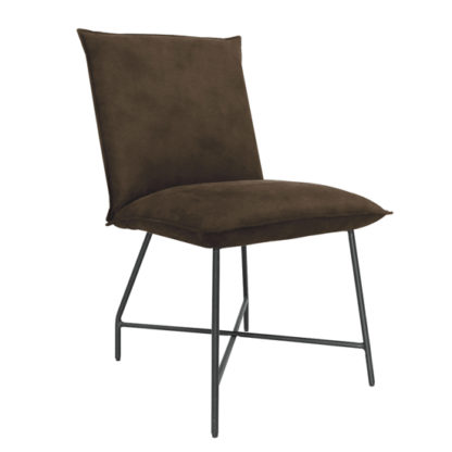 An Image of Lukas Fabric Upholstered Dining Chair In Brown