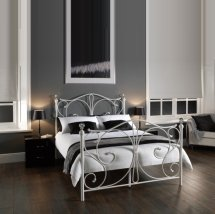 An Image of Flora Metal Double Bed In White