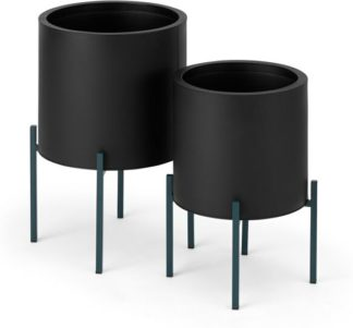 An Image of Noor Set of 2 Large Galvanized Iron Round Plant Stands, Black & Teal