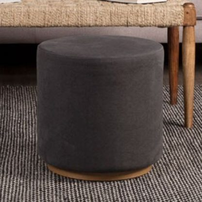 An Image of Giausar Round Soft Fabric Upholstered Stool In Grey