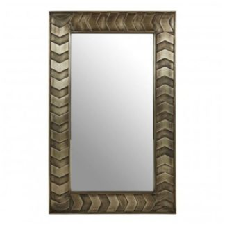 An Image of Siros Rectangular Wall Bedroom Mirror In Weathered Brown Frame