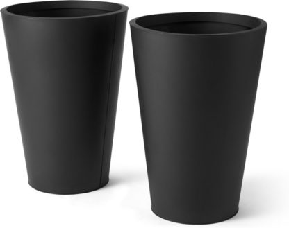 An Image of Razan Set of 2 Tall Galvanized Conical Planters, Black