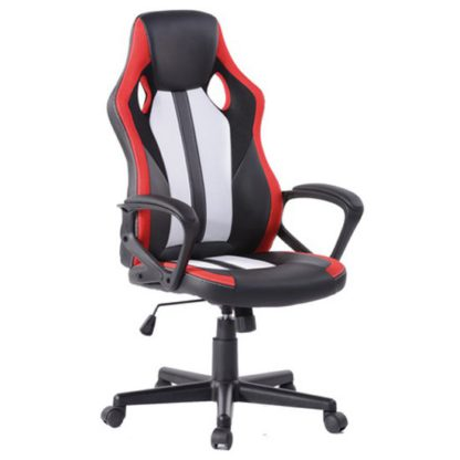 An Image of Racing Fun Faux Leather Gaming Chair In Black And Red