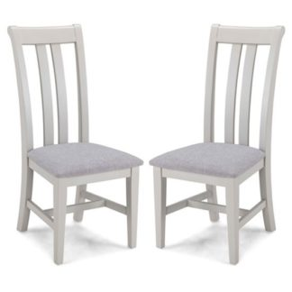 An Image of Sunburst Grey Fabric Dining Chairs In A Pair With Wooden Frame