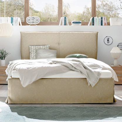 An Image of Civic Faux Leather Storage Double Bed In Tobacco Effect