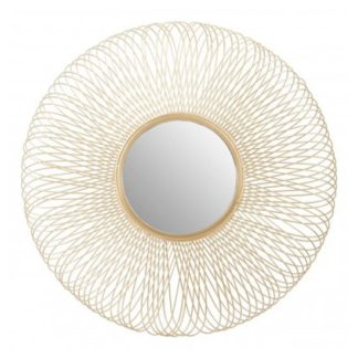 An Image of Templars Twisted Wire Effect Wall Bedroom Mirror In Gold Frame