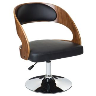An Image of Savial Black Faux Leather Bar Chair With Arms