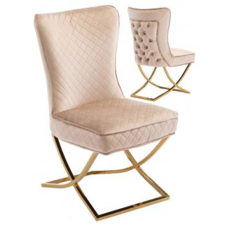 An Image of Lorenzo Brown Velvet Dining Chairs In Pair With Gold Legs