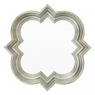 An Image of Sims Arabesque Design Wall Mirror In Weathered Silver Frame