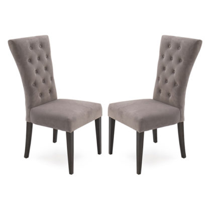 An Image of Pembroke Taupe Velvet Upholstered Dining Chair In Pair
