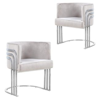 An Image of Lula Brown Velvet Dining Chairs In Pair With Silver Legs