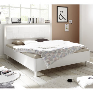An Image of Soxa LED Wooden Double Bed In Serigraphed White