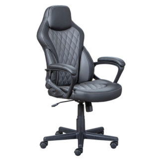 An Image of Ando Faux Leather Home And Office Executive Chair In Black